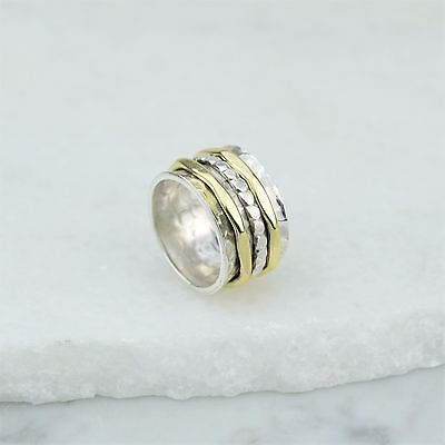 925 Sterling Silver Hammered Gold Bead Spinning Worry Ring