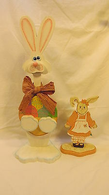 Hand Made & Painted Wooden Easter Bunny & Girl Bunny