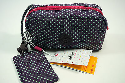 Kipling NEW Roozie Small Cosmetic Make Up Bag Pouch With Mirror Purple Spot BNWT