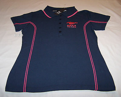 Ford Mustang 50th Anniversary Ladies Navy Blue Pink Polo Shirt Size 8 New
