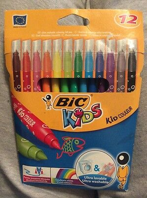 Bic Kids. 12 Ultra Washable Colouring Felt Pens.
