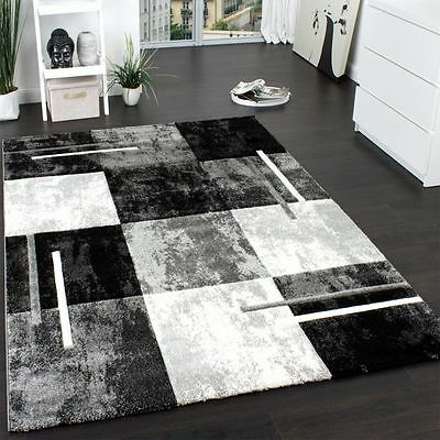 Large Rug Modern Elagant Rugs Quality Mats Grey Checked Design Small Extra Large