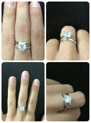 2 Ct Diamond Solitaire Engagement Ring F VS1 14K White Gold Round Cut Enhanced