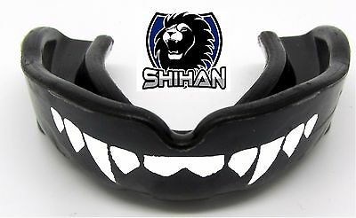 BOXING WRESTLING UFC Black 'FANGS' Teeth Gum Shield Mouth Guard Protection