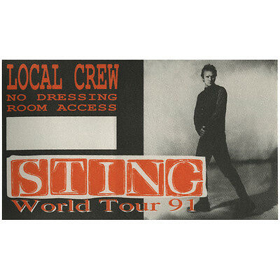 Sting authentic Local Crew 1991 tour Backstage Pass