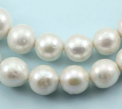 11-15mm White Edison Nucleated Round Baroque Freshwater Pearls Jewellery Making
