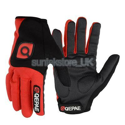 2x Winter Bike Bicycle Cycling Full Finger Gloves Waterproof Windproof Red L