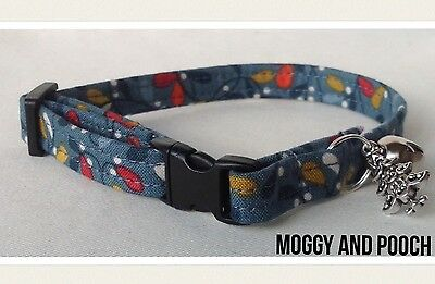 Handmade Christmas Cat Collar, Safety Release  Buckle, Bell and Charm