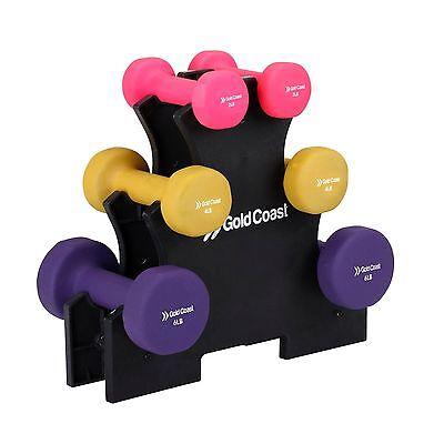 Gold Coast 24lb Dumbbell Weight Training Gym Fitness Exercise Workout Stand Set