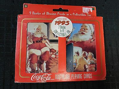 """1995 Coca Cola SANTA """"COLLECTOR TIN"""" and 2 Sealed Decks Playing Cards NEW"""