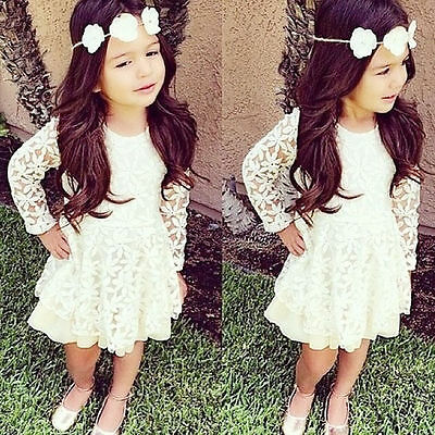 USA Kids Toddler Baby Girl Clothes Skirt Long Sleeve Lace Tutu Dress Party Dress
