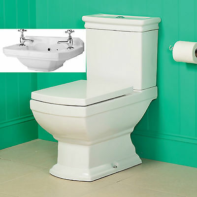 Traditional Bathroom Suite Close Coupled Toilet and Wall Basin Sink Ceramic