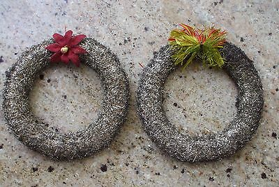 Vintage Antique Lametta Tinsel Wreaths Gold Germany Poinsettia Bow Paper Mache