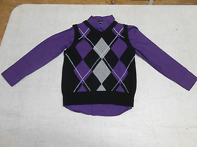 George Boys'  Argyle Sweater and Shirt Set, Purple/Black, 5