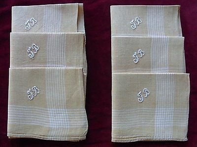 LOT01 6 ANCIENS MOUCHOIRS LIN monogr JB / 6 Old LINEN embroidered handkerchiefs