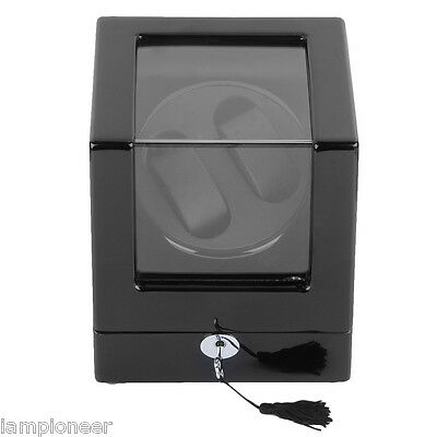 Rectangle Mute Automatic Double Watch Winder Black Wooden BOX Twin Display Case