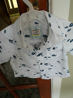 Baby Boy's Button Up Shirt Brand Next  Age 6-9M  White With Blue Fish On
