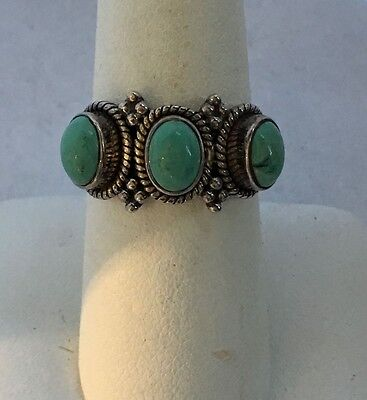 Green Turquoise Sterling Ring Signed India