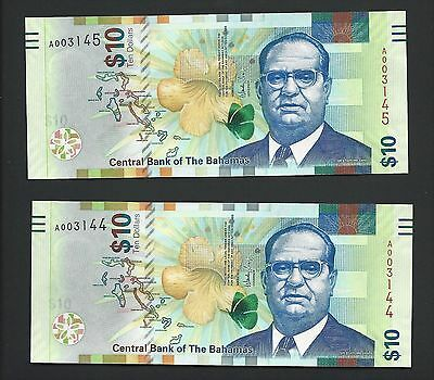 2016 Bahamas $10 Consecutive Serial Numbers, Crisp UNC Brand New Note