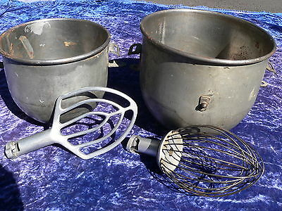 Vintage Hobart Mixing Bowls 20 and 12 Quart with Beater Whip