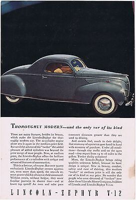 1938 Lincoln Zephyr V-12 Incredible Old Antique Original Car Ad