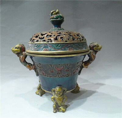 China's noble use of copper fetal cloisonne Smoked incense burner RENXINGTUI