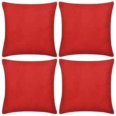 4 Cushion Cover Pillow Case Soft Cotton Fabric Red Square Home Sofa Bed Decor