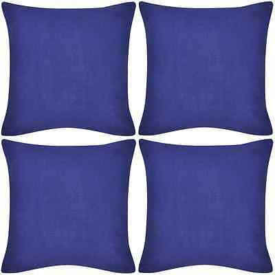 4 Cushion Cover Pillow Case Soft Cotton Fabric Blue Square Home Sofa Bed Decor