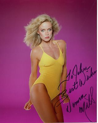 DONNA MILLS autographed 8x10 color photo        GORGEOUS+SEXY POSE       To John