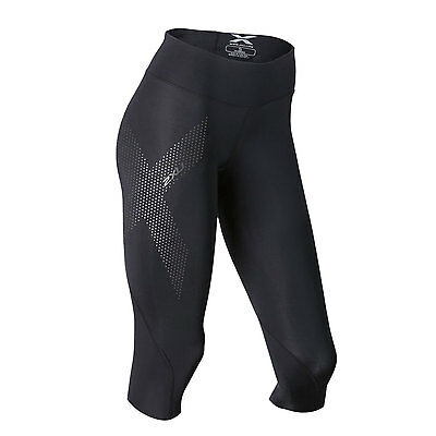 2XU Women's Mid-Rise Compression 3/4 Tight Black/Dotted Reflective Size Large