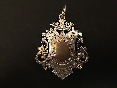1890 VERY LARGE STERLING SILVER FOB/MEDAL for pocket watch chain or pendant