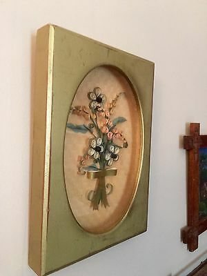 Vintage Paper Quilling Shadowbox Picture Flowers Framed Quilled Art