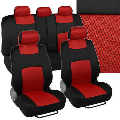 Black And Red 9 Piece Universal Fit Car Seat Covers
