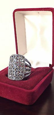 Vintage Sterling silver Marcasites ornate ring S 6.5 MD 925 mark VGC A04