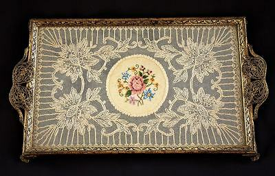 Antique Vintage Filigree Gilt Petit Point Embroidered Tray Chic Dressing Table