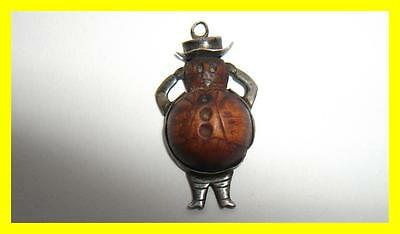 Rare Wwi Silver Touch Wood/eud/fumsup John Bull Lucky Fob Rd No 642336,1914