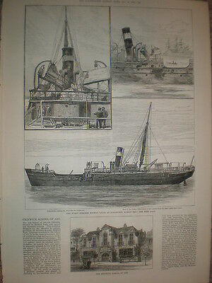 Burnt steam ship Solway at Kingstown (Dun Laoghaire) Ireland 1881 old print
