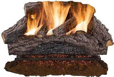 """24"""" Natural Vented Gas Log Set Oak Vented Home Fireplace Realistic Ember Bed"""