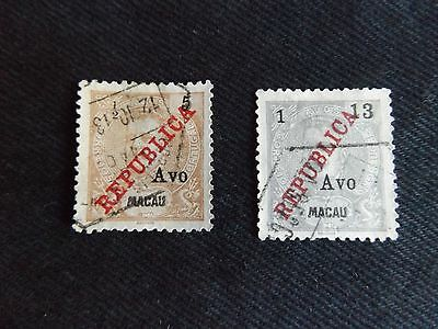 Portugal Macau 1913 Republica Op With Avos Surcharges Selection Of 2 Stamps