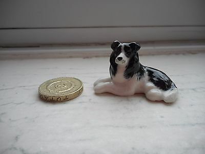 Border Collie - Beautiful  Miniature Pottery Resting Black And White Sheepdog