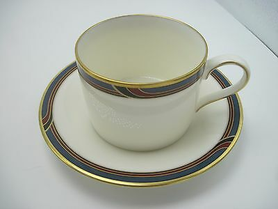 Gorham China Regatta Cup and Saucer Maroon Blue Black Bands EXC