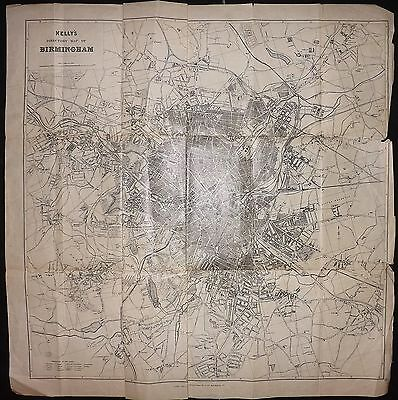 Kelly C1900 Large Antique Map. Kelly's Directory Map of Birmingham