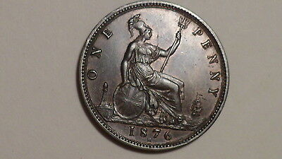 1876 H Wide Date Penny.Victoria 1860-1894. nUNC.Some Lustre. VR. British Milled