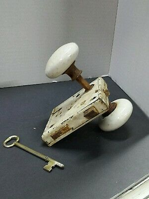 vintage white door knob with lock