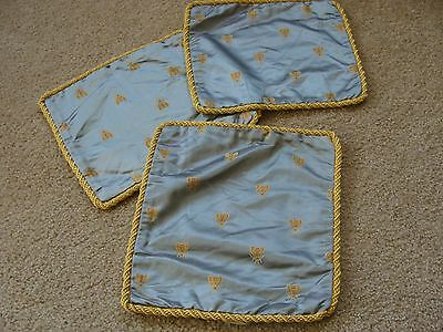 Vintage Fine Silk Blue Fabric Pillow Covers  Antique  French Honeybee Lot 3
