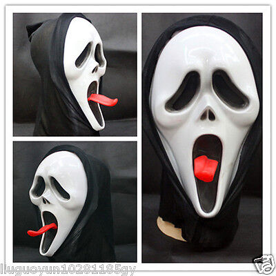 Long Tongue Ghost Scary Skeleton Face Masks Dress Up Or Costume Party Halloween