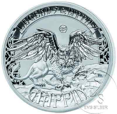 2 oz Legends and Myths Griffin Greif Solomon Islands 2016 5 $ Double High Relief