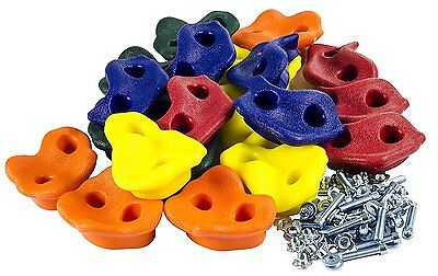 Kids 10 Assorted Rock Wall Hand Climbing Holds with Hardware | Screws & Rocks In