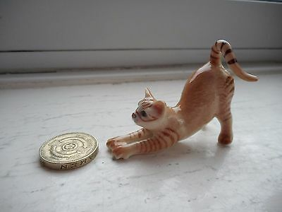 Cat - Beautiful Miniature Porcelain Fawn/ginger And Tabby Stretching  Cat