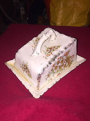 Ceramic Cheese Butter Cover And Dish Vintage